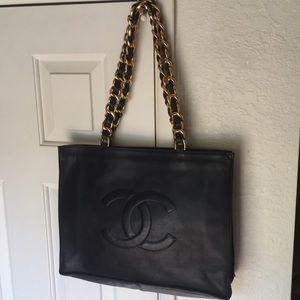 Authentic Chanel Calfskin CC Tote Black